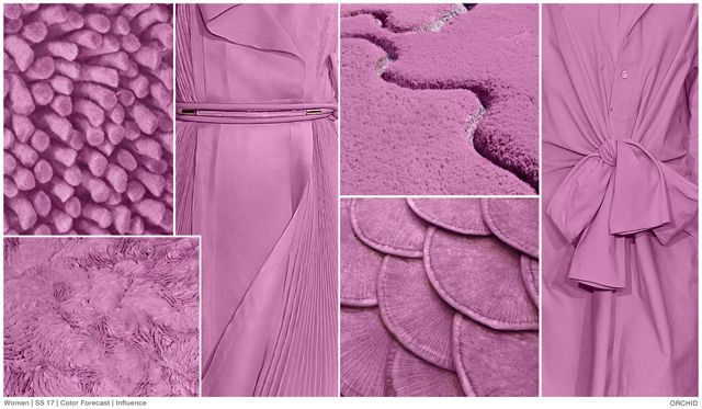 ORCHID // FASHION SNOOPS - WOMEN'S COLOR FORECAST . SS 2017. Orchid is the most saturated hue in the pastel palette. Evolving from lighter shades of lilac, orchid embraces bright purple tones.