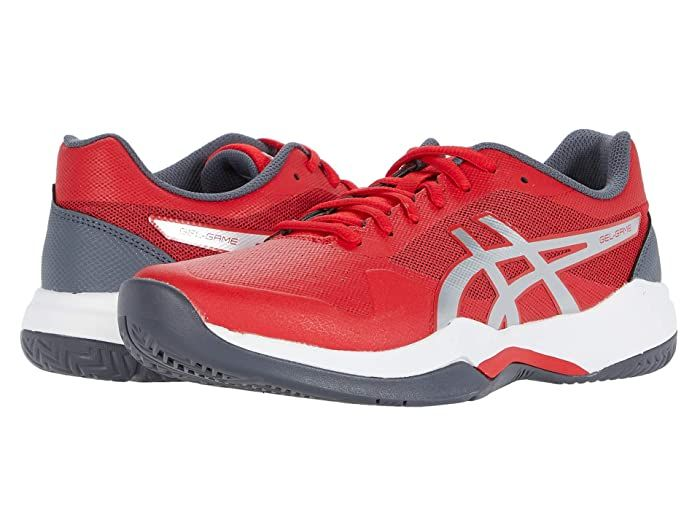 Asics Gel Game 7 Classic Red Pure Silver Men S Tennis Shoes Stay On The Offensive With The Asics Gel Game 7 Tennis Shoe In 2020 Mens Tennis Shoes Asics Tennis Shoes