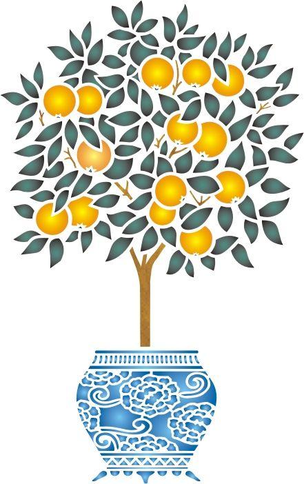 Orange Tree Stencil