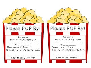 Good idea for back to school night--invitation and thank you