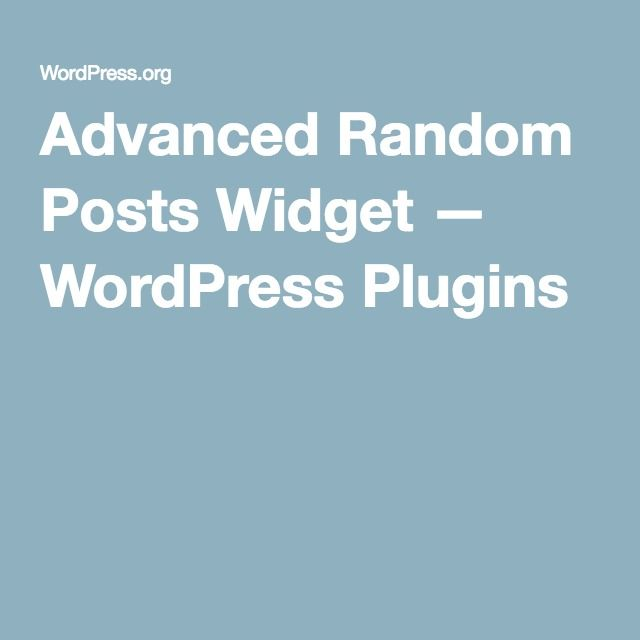 Advanced Random Posts Widget — WordPress Plugins