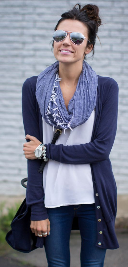 Lovely for fall, cardigan, shirt, scarf and denim pant