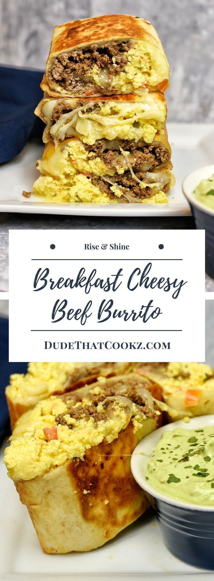 This big beef breakfast is strictly for the big appetites. The blended flavors of the beef and creamy scrambled eggs on top of the extra cheese will have you on a mission to finish this big boy burrito. This is not necessarily a man versus food challenge but you may have to clear your calendar after taking this breakfast head on. #burrito #breakfast via @dudethatcookz