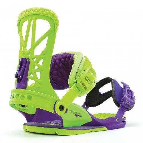 Union Men's Contact Pro Bindings - Purple/ Green L/XL by Union. $219.99. The Men's Union Contact Pro Bindings were designed and endorsed by backcountry freestyle legend Gigi Ruf, so you'll understand why they deliver such an awesome combination of board feel, response, stability and comfort. These snowboard bindings allow your board to flex naturally for improved control, while the triple zone injected EVA bushings dampen vibrations underfoot for a more comforta...