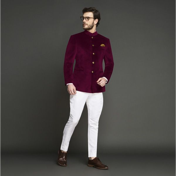 Statesman Burgundy Velvet Jodhpuri Suit Custom Made By A I In