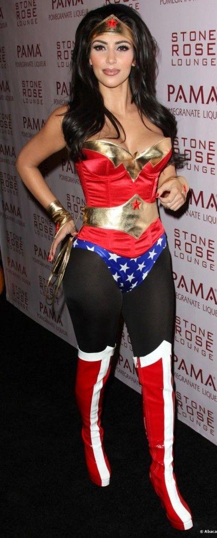 Intense Makeup And Cleavage Dizzy Kim Kardashian In Wonder Woman