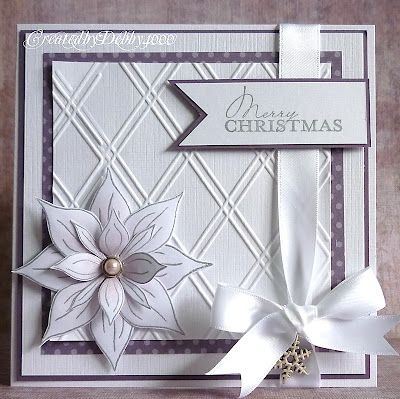 nearly all white Christmas card...lovely poinsettia...