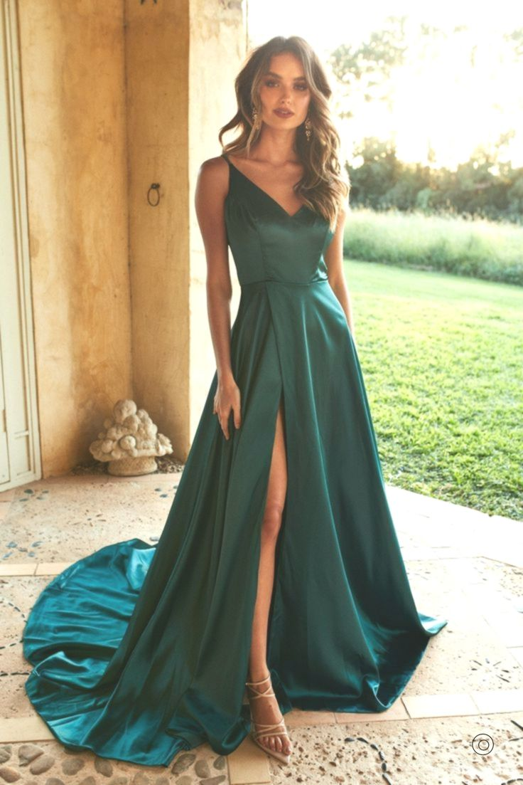 A & N Luxus Lucia Satin Kleid - Teal, #Kleid #Lucia #Luxus #satin