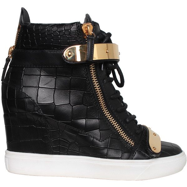 Giuseppe Zanotti High-top croc print leather sneakers ($962) ❤ liked on Polyvore featuring shoes, sneakers, dance, sapatos, trainers, black, black hi top sneakers, black high tops, leather high top sneakers and high top wedge sneakers