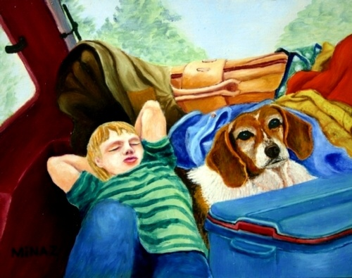 Minaz Jantz, 'Hatch Back-in-it! (Dustin & Dixie)' oil on mahogany board 11x14""