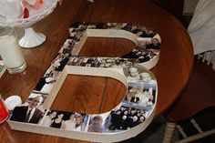 "Monogram Gift -- DIY (for a couple or their kids) this would be fun to do for all my girls. They'd all have the ""E"" but I could put different cute pictures and maybe tie a ribbon of their favorite color. :)"