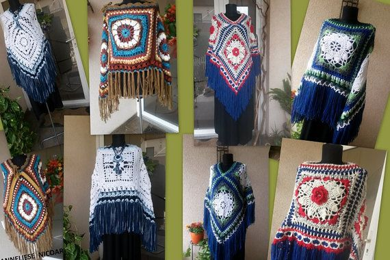 Women's Handcrocheted Poncho With Fringe and by AnnesMagicCrochet