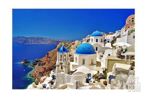 Amazing Santorini - Travel In Greek Islands Series Art Print by Maugli-l at Art.co.uk