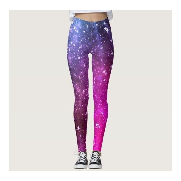 Colorful Vibrant Pink Stars Galaxy Leggings ($62) ❤ liked on Polyvore featuring pants, leggings, galaxy print leggings, multi coloured leggings, cosmic leggings, multicolor leggings and multi colored leggings