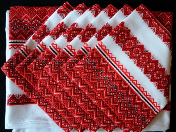 Set of Ukrainian Traditional Tablecloth and 6 or by aCrossUkraine