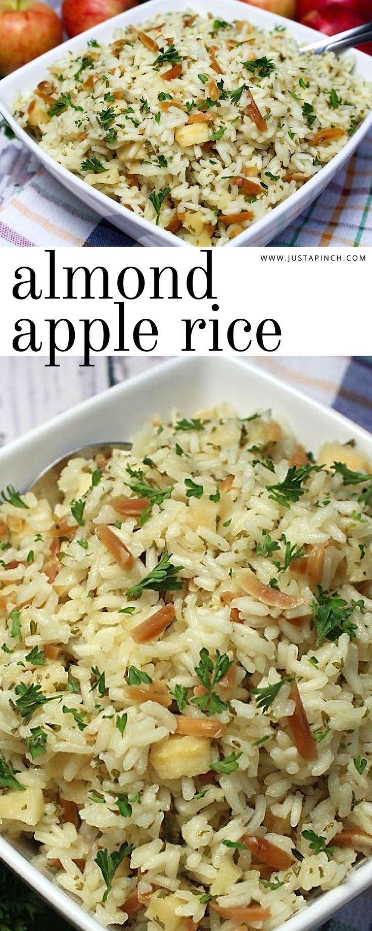 Easy jazzed up rice recipe - we love this almond apple rice, a great fall side dish recipe! #sidedish #ricerecipe