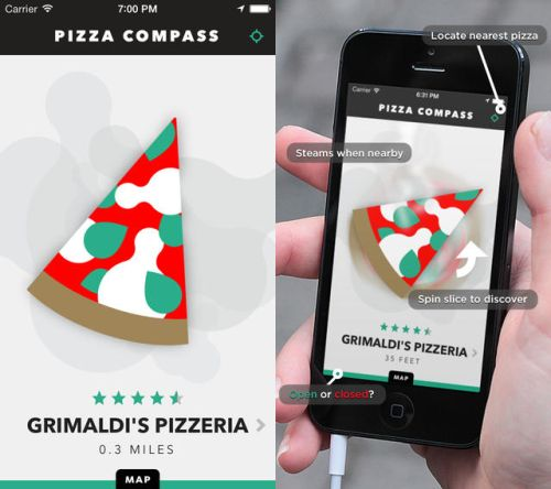 Pizza Compass App The Pizza Compass App gives iPhone users a whole new exciting way to find pizza. Simply Download the app, allow them to access your location and it will guide you (via Pizza Compass) to the nearest pizza place, or a pizza place of your choosing. BUY IT HERE