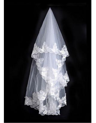 Bianco Elegante Uno Strato Tulle Velo Nuziale in Pizzo