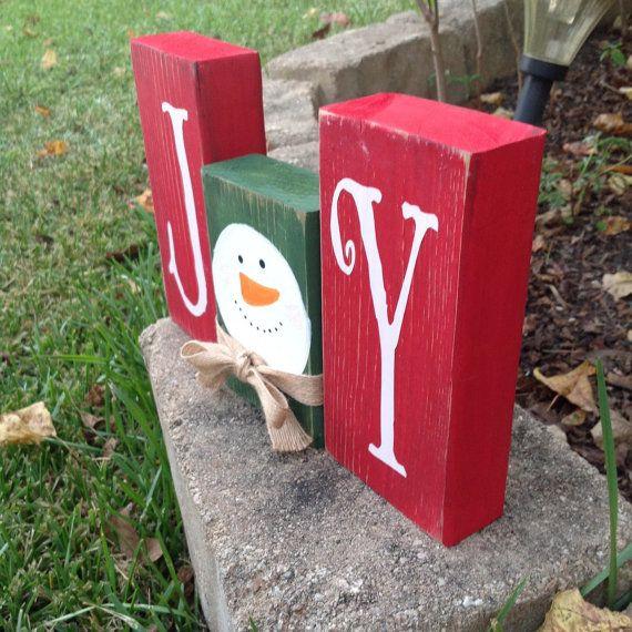 Christmas JOY snowman blocks holiday decor Christmas decor