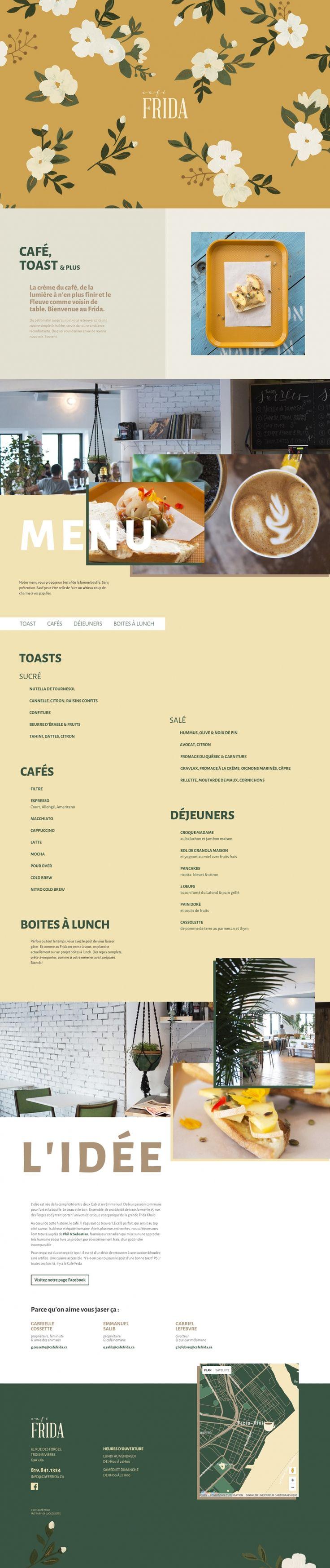 CAFÉ FRIDA UI/UX Design by Marie-Michelle Dupuis and Pier-Luc Cossette | Fivestar Branding Agency – Design and Branding Agency & Curated Inspiration Gallery #website #web #webdesign #ui #uidesign #uxdesign #behance #dribbble #pinterest #fivestarbranding
