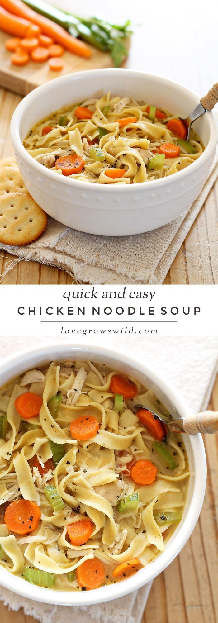 Delicious homemade Chicken Noodle Soup ready in under 30 minutes! Get the recipe for this easy meal at http://LoveGrowsWild.com