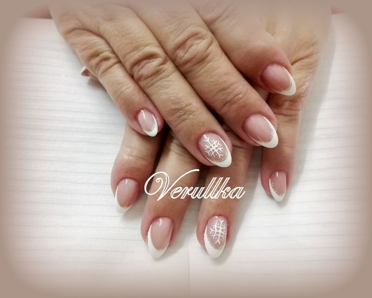 White french and snowflake on gel nails