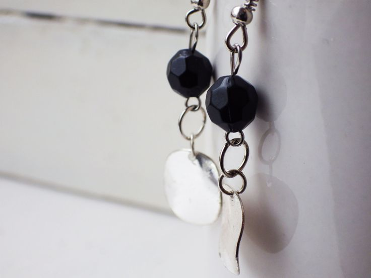 Black Faceted Crystal and Silver Disc Earrings by studioCworkshop on Etsy
