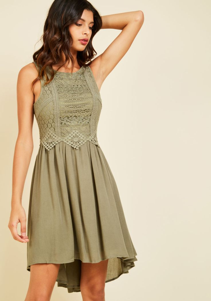 Cider Insider Dress. By sporting this high-low dress, you ensure a VIP spot for yourself at the cider tasting! #green #modcloth