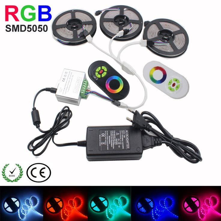 5M 15M 10M 20M 5050 LED Strip RGB light 450LEDS IP20 Led Diode Tape RGB ledstrip SMD 5050 5m/Roll +Touch  Controller+DC12V Power