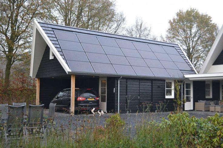 Bijgebouw voorzien van zonnepanelen, verdiept, tussen de dakpannen gemonteerd | HaBé Bouwen in Stijl