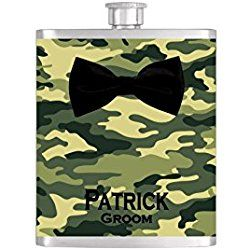 Black Bow Tie Groomsmen Camoflauge Bow Tie Flask with FREE Funnel - Mens Stainless Steel 8 oz Liquor Hip Flasks - Flask #343