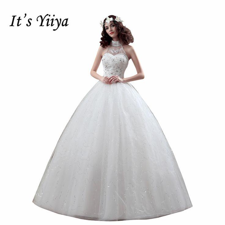 It's Yiiya Cheap White Princess Wedding Frocks Vestidos De Novia Halter Tulle Wedding Dresses Bride Frocks XXN116 #Affiliate