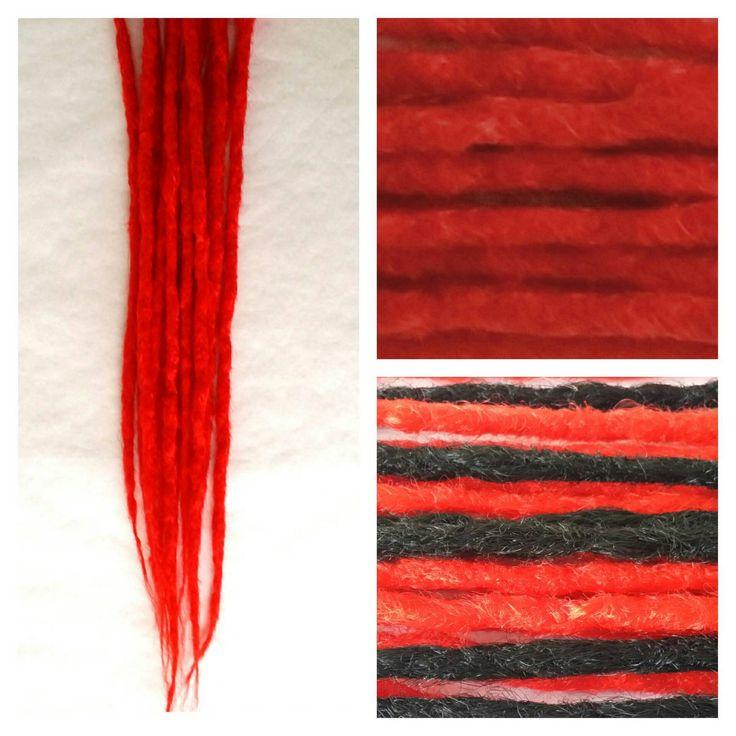 Red Dreadlocks, Rastas Extensiones Rojas (pelo sintetico) sin clip. Pack Extensión Rastas Rojas. de DreadsGalicia en Etsy