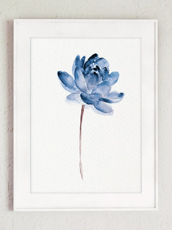 Lotus Set of 2 Watercolor Painting Blue Water by ColorWatercolor                                                                                                                                                                                 More