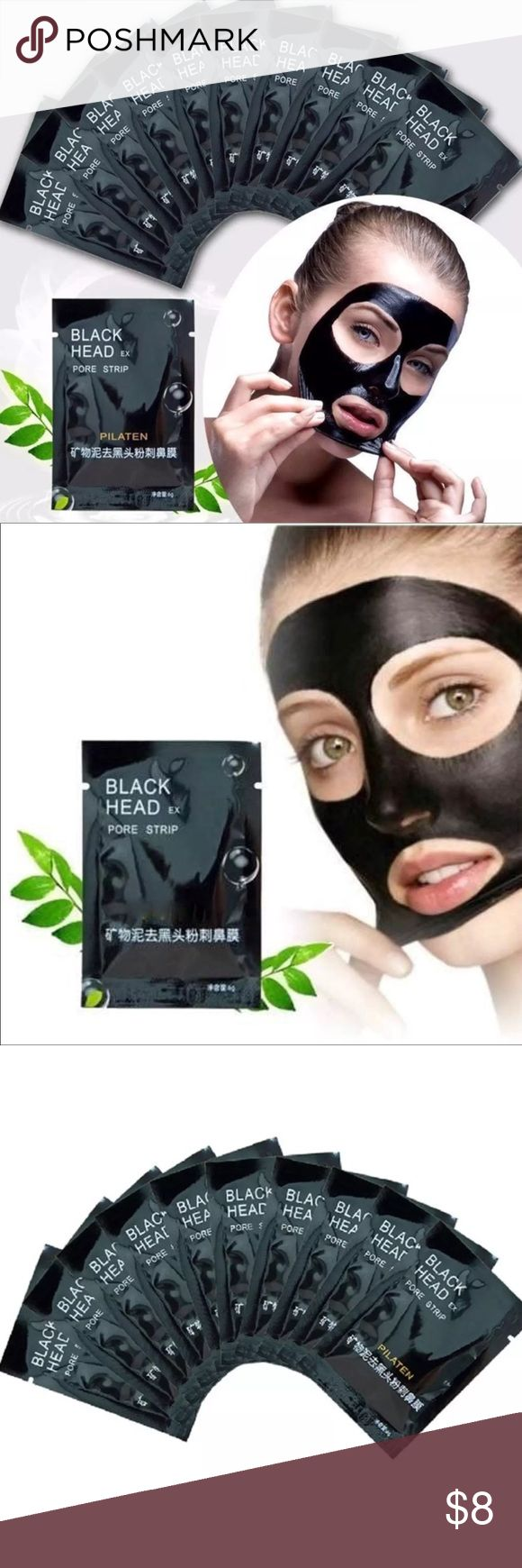 New Face Mask 10 pk Pilaten Blackhead Remover, deep cleaning black mud mask Haw to use: 1.Thoroughly wash your face, making sure that it is free of any creams, lotions or make up. 2. Dry hands, then open the packet and apply the mask evenly over the nose area. 3. Let the mask dry for 20-30 minutes. When  Completely dry peel the mask off from the bottom up. If there is any residue , rinse off with water. 4.Use 1-2 times a week. (Opened packet must be sealed with cellotape, otherwise product…