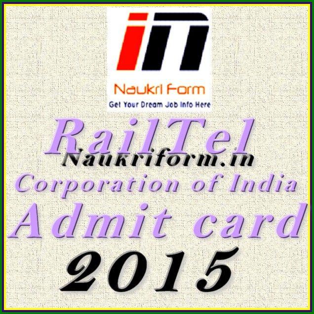 RailTel Corporation of India Admit Card 2015