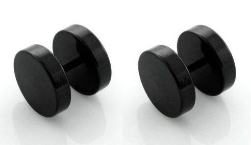 bkwear F66 2 Boucles d'oreille Tricher-Plug d'Acier 316L Noir 8 mm Faux Ecarteur Plug – Convient pour trous l'oreille normale | Your #1 Sour...