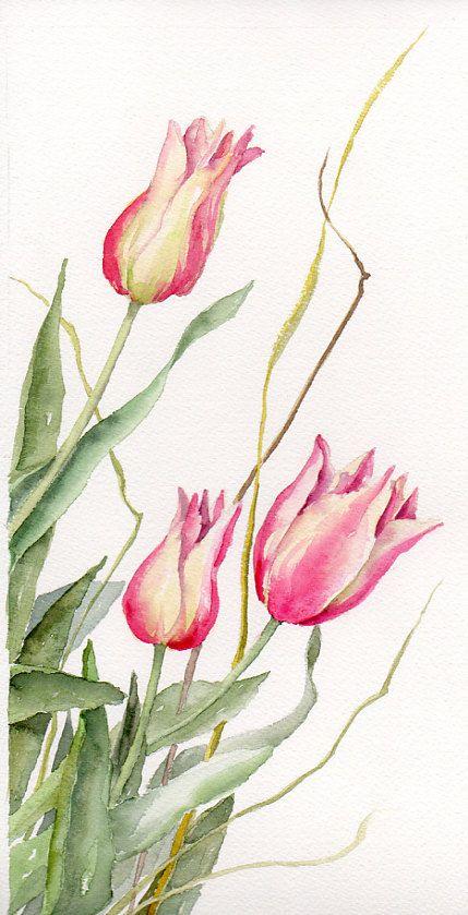 Floral Art Watercolor painting Original Tulips Flower Art Spring Celebrations Pink Tulips