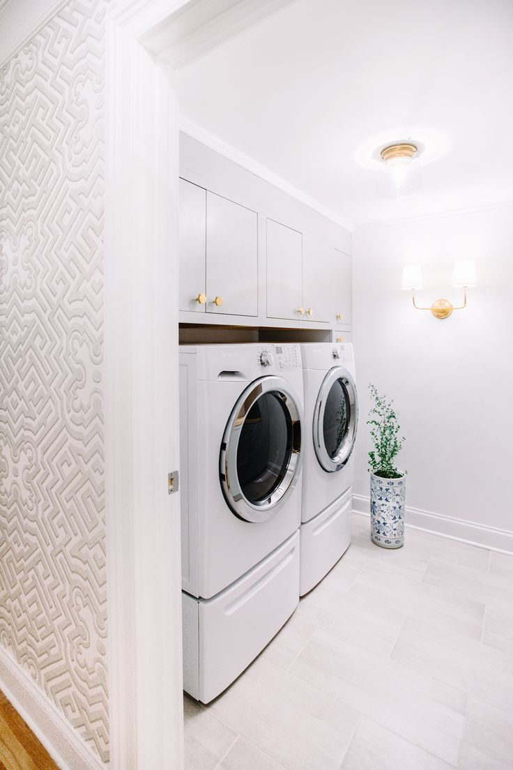 Biscuit colored washer and dryer - Delicate Glam White Laundry Room Design By Pencil Paper Co Gen Sohr Schoolhouse Electric Hardware Cole And Sons Wallpaper Circa Lighting