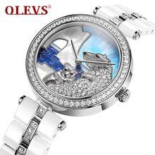 Olevs simulado diamante urso polar vestido de marcação de quartzo mulheres relógios simples senhoras de cerâmica assistir à prova d' água relogio feminino l134(China (Mainland))