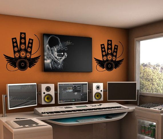 music studio decor vinyl wall art decal by 7decals on etsy 2499 music studio decorstudio setupstudio designstudio ideashome