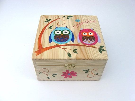 Childrens Personalised Wooden Memory Box, Childrens Keepsake Box with Funky Owl Design