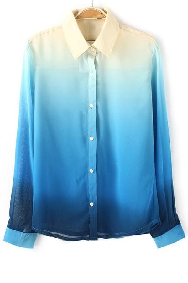 Gradient Semi-sheer Chiffon Shirt - OASAP.com