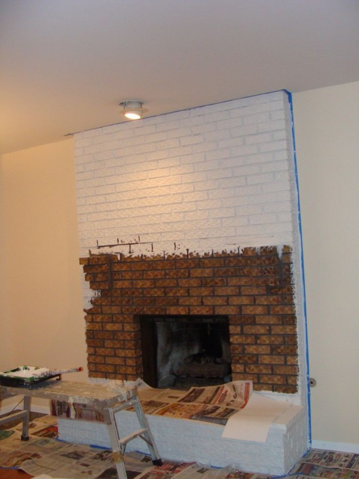 Painted White Brick Fireplace Makeover
