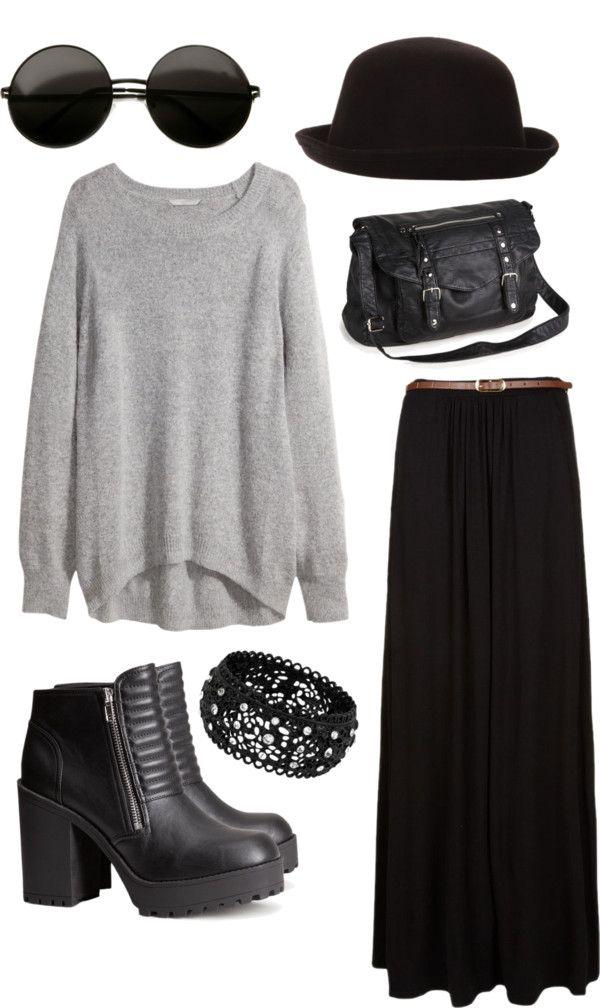 Grey by harleyhuke featuring derby hatsH&M plus size shirt, $40 / Black skirt, $29 / H&M high heel platform bootie