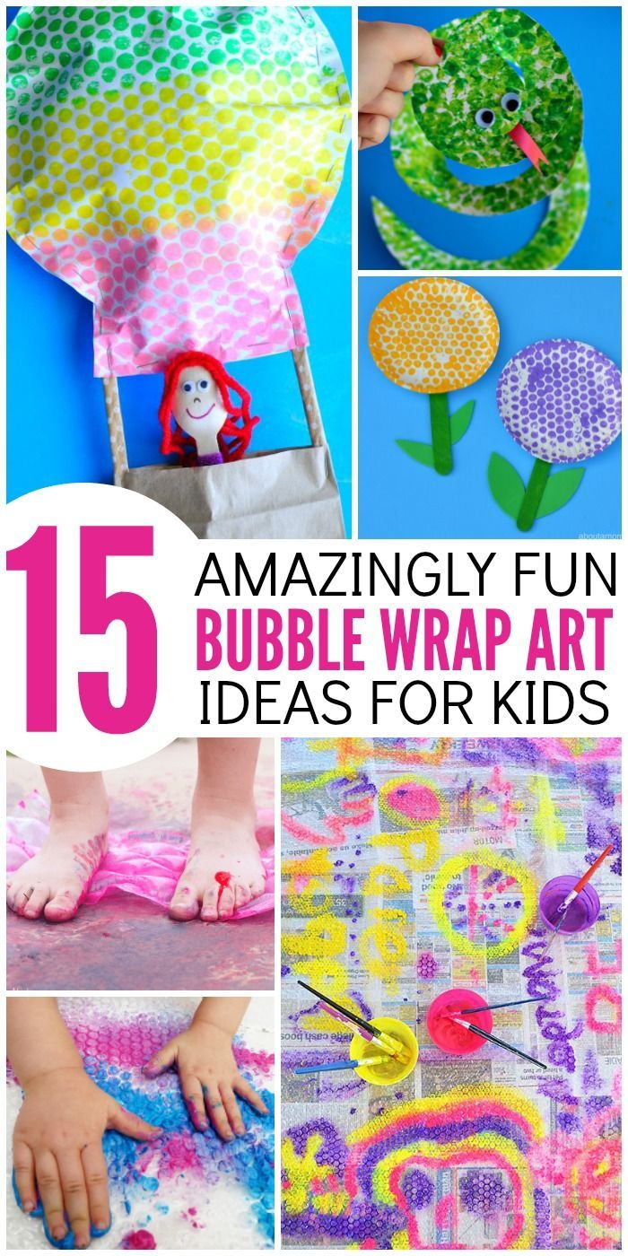 Get a sensory art experience with these 15 AMAZINGLY fun bubble wrap art projects for kids. You'll find crafts, printing, gross motor painting and more!