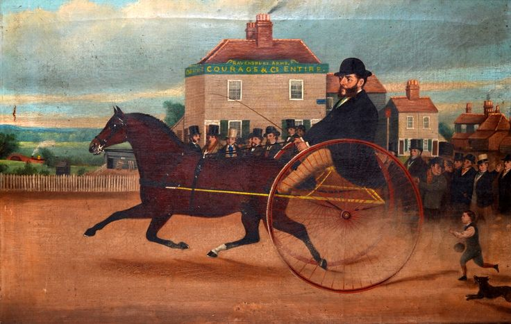 English Provincial School Gig Racing Outside the Ravensbury Arms, Croydon Oil on canvas