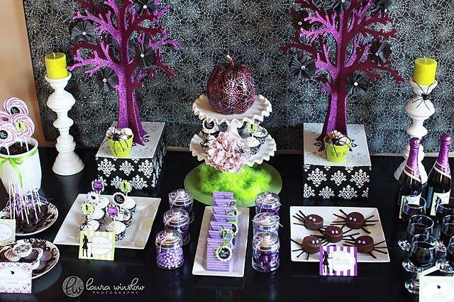 Glam Halloween: Halloween Theme, Halloween Parties, Parties Printable, Halloween Glam, Colors Schemes, Parties Ideas, Halloween Treats, Halloween Desserts Tables, Halloweenparti
