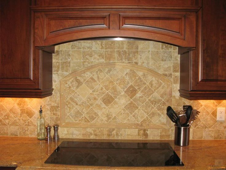 Beige brown subway mosaic travertine backsplash tile ...
