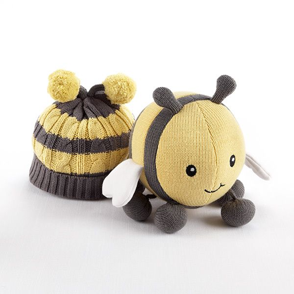 """""""Critter Couture Caps by Baby Aspen"""" Knit Bee Plush Toy and Knit Cap for Baby"""